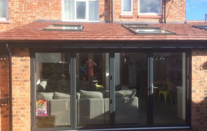 anthracite powder coated aluminium bi fold doors